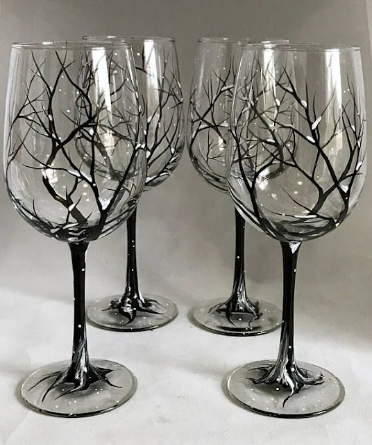 Trees Hand-Painted Wine glasses For Gift