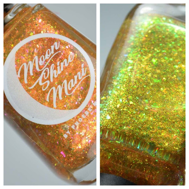 gold flakie nail polish in a bottle