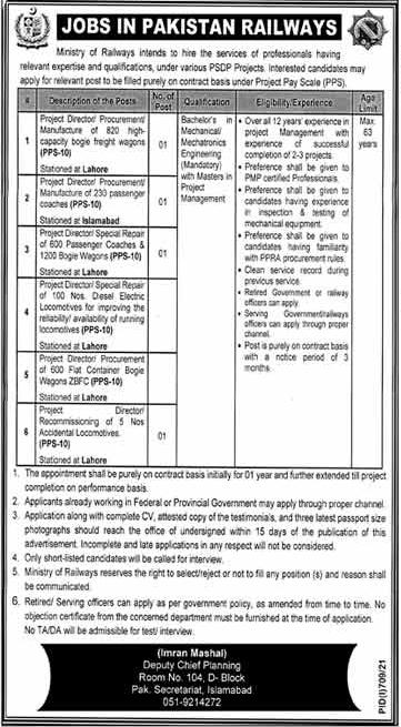 Pakistan Railways PR Jobs 2021 – www.pakrail.gov.pk
