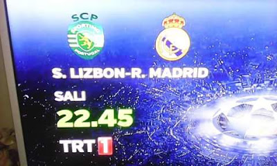 شاهد مقابلة سبورتينغ لشبونة × ريال مدريد مجانا على قناة TRT 1 مع الترددات و الاقمار Turksat
