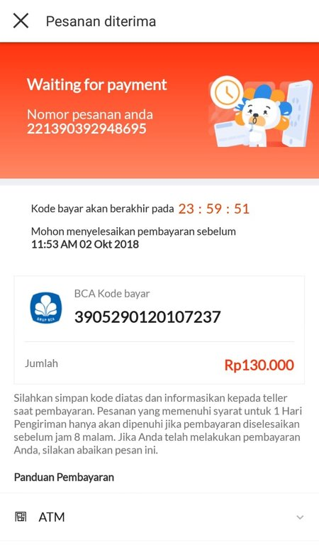 kode pembayaran produk lazada