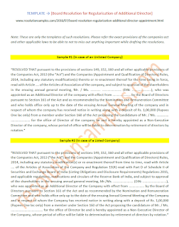 draft board resolution for regularisation of additional director as per companies act 2013