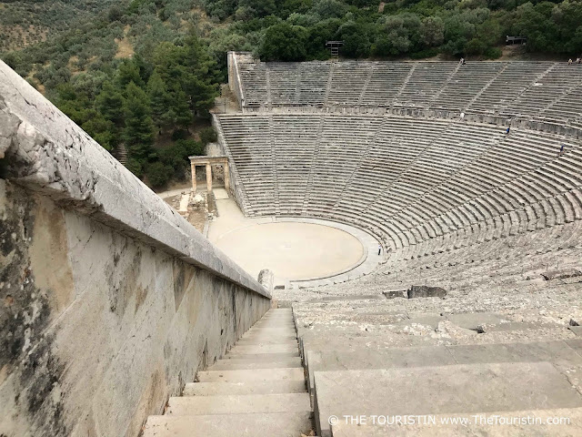 A close-up of the Epidaurus Theatre in Greece.