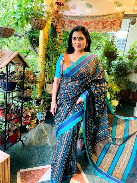 Blue and black aiyaram buta (1000 buta) cotton saree