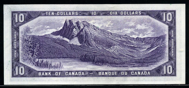 Canadian bank notes for sale, Canadian Currency, Mount Burgess Yoho National Park British Columbia