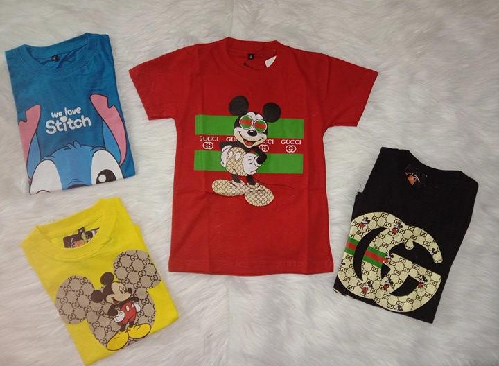 Kaos Anak Gucc/Distro 1-8 Tahun Warna Merah Bahan Katun