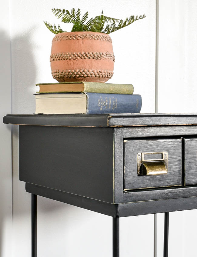 Black painted side table makeover