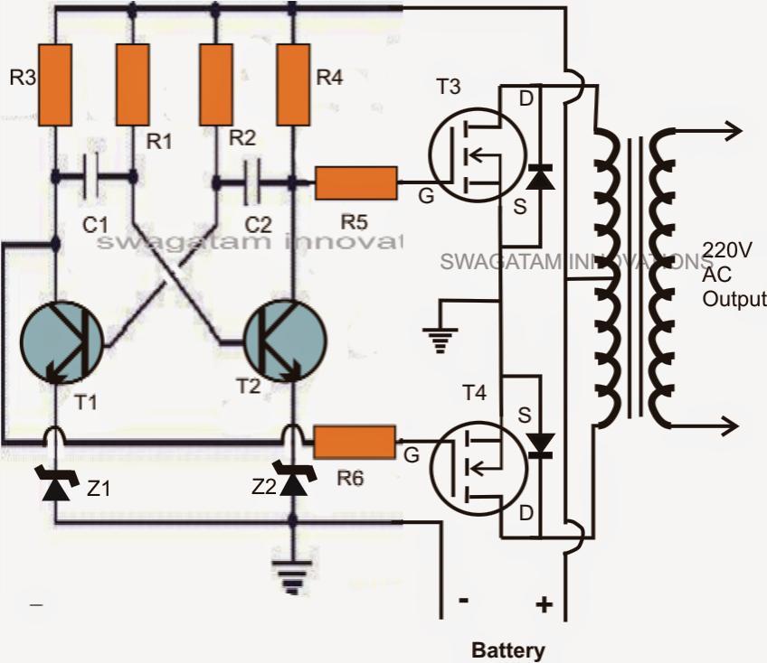 Mini 50 Watt MOSFET Inverter Circuit | Circuit Diagram Centre