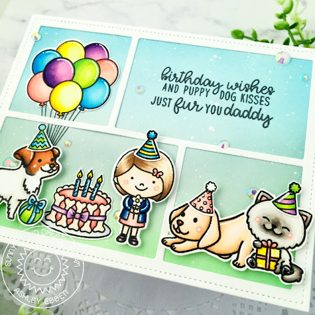 Sunny Studio Stamps: Devoted Doggies Party Pups Birthday Card by Ashley Ebben