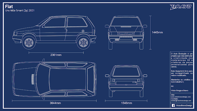Imagem do blueprint do Fiat Uno Mille Smart (2p) 2001