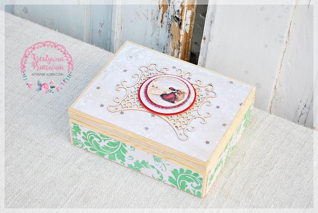 święta, boże narodzenie, pudełko drewniane, handmade, scrapbooking