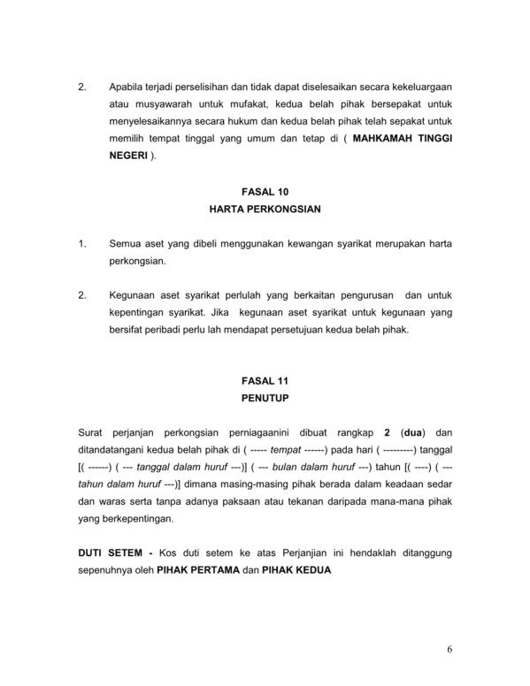 Contoh surat perjanjian Perkongsian perniagaan  AKU dan