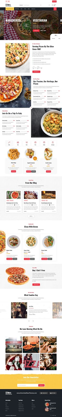 Pizza Restaurant WordPress Theme