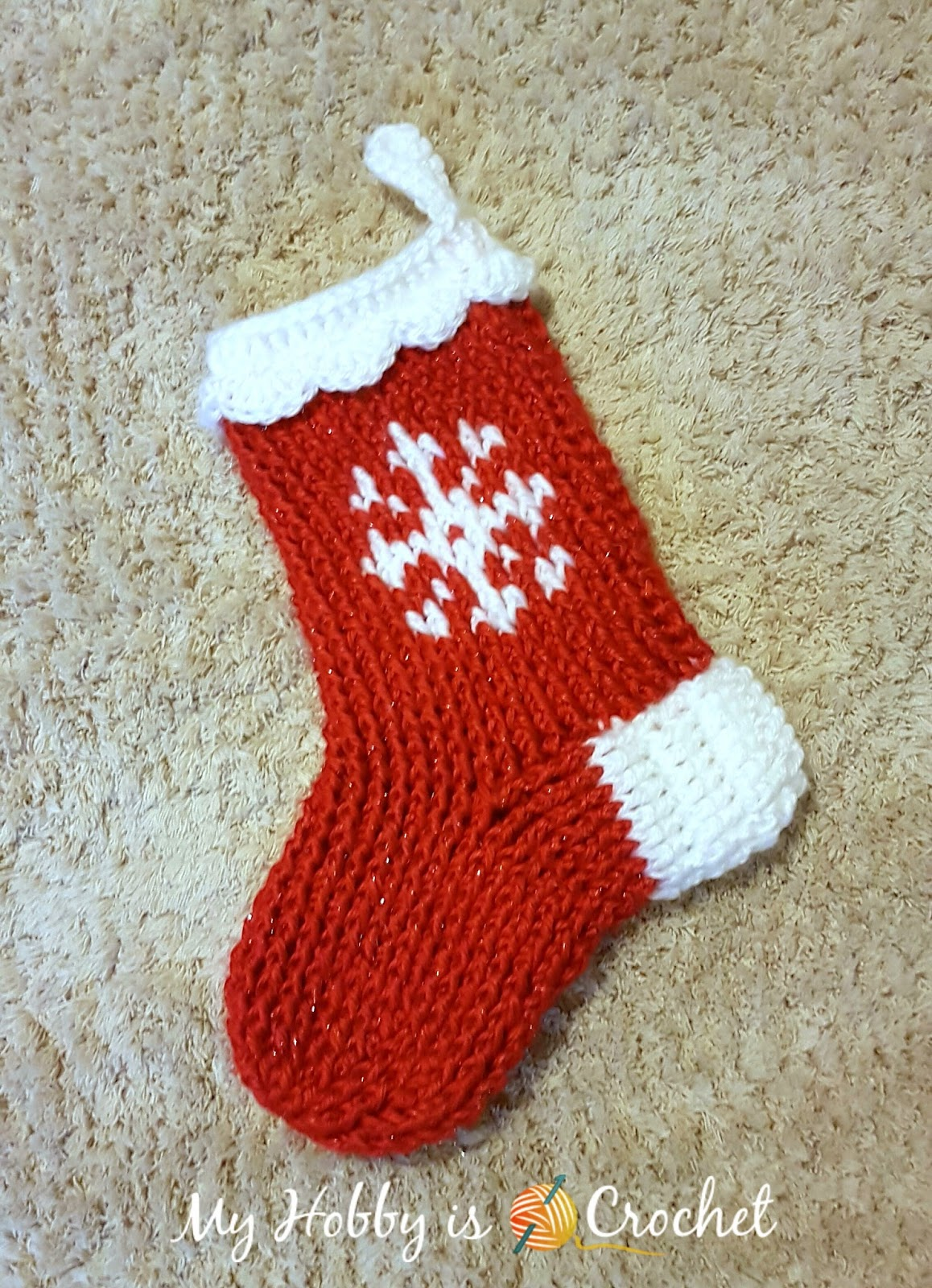 My hobby is crochet snowflake christmas stocking or slipper boots free crochet pattern snowflake christmas stocking bankloansurffo Image collections