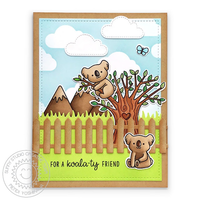 Sunny Studio: Punny Koala Card (using Outback Critters, Happy Harvest & Spring Scenes Stamps, Picket Fence Die, Fluffy Cloud Dies, Frilly Frames Retro Petals Dies)