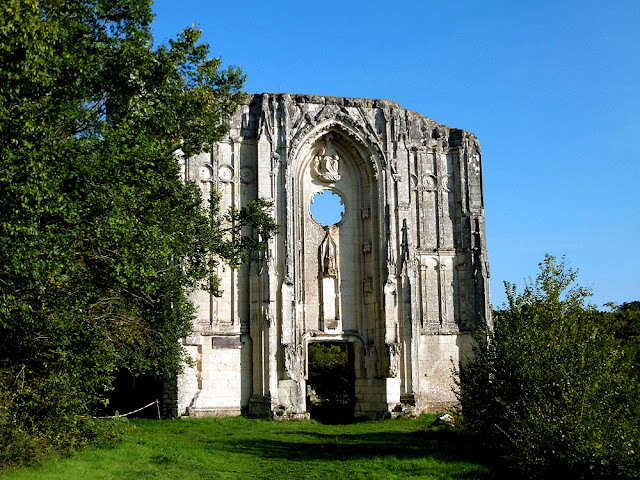 Western front of the ruined church at Les Roches Tranchelion, Indre et Loire, France. Photo by Loire Valley Time Travel.