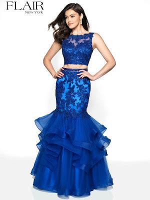 Mermaid Flair two-piece royal Blue Prom Skirt Dress