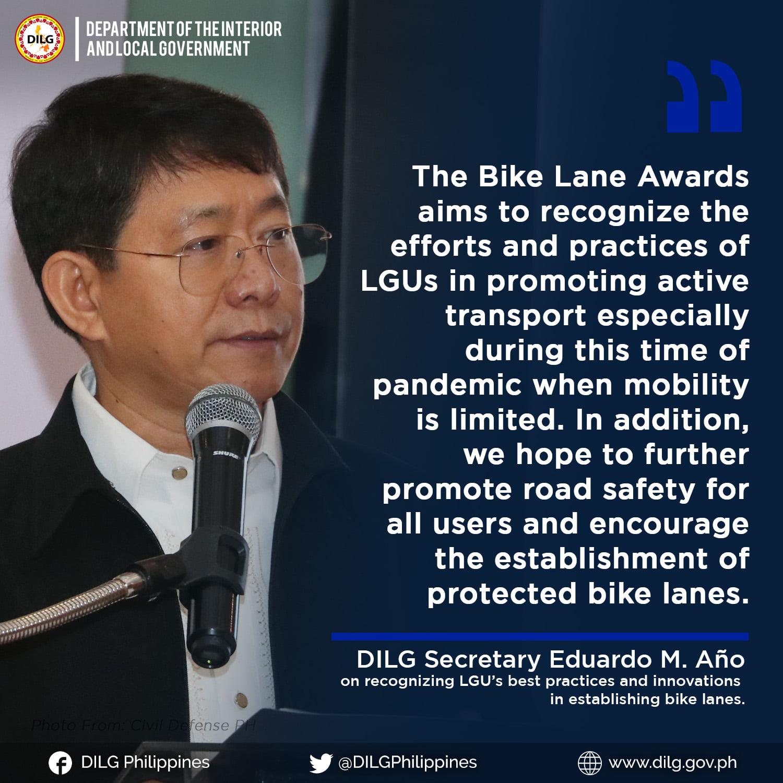 DILG Secretary Eduardo M. Año Philippines Bike Lane Awards 2021