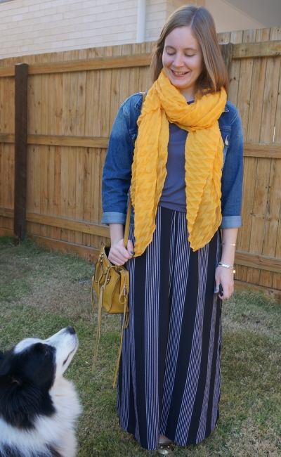 mustard yellow scarf and bag with vertical striped maxi skirt grey tee and denim jacket | awayfromblue