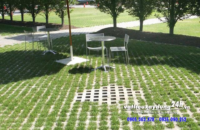 Gạch block trồng cỏ 8 lỗ lát nền sân vườn