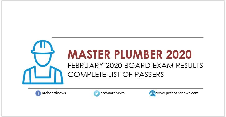 RESULT: February 2020 Master Plumber board exam list of passers