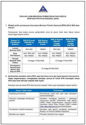 Tarikh Bayaran Permohonan Baru Dan Rayuan BPN Mulai 15 Mei