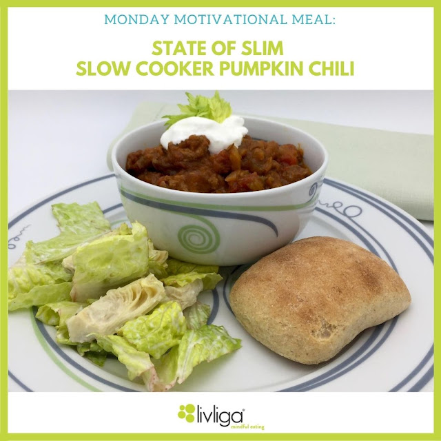 Livliga's Monday Motivational Meal is the State of Slim Pumpkin Chili in the Vivente Portion Control Bowl
