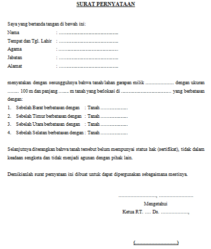 Surat Pernyataan Keterangan Tanah Belum Memiliki Sertifikat Format Word Dadang Jsn