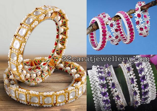 Diamonds and Gemstones Bangles by Hazoorilal