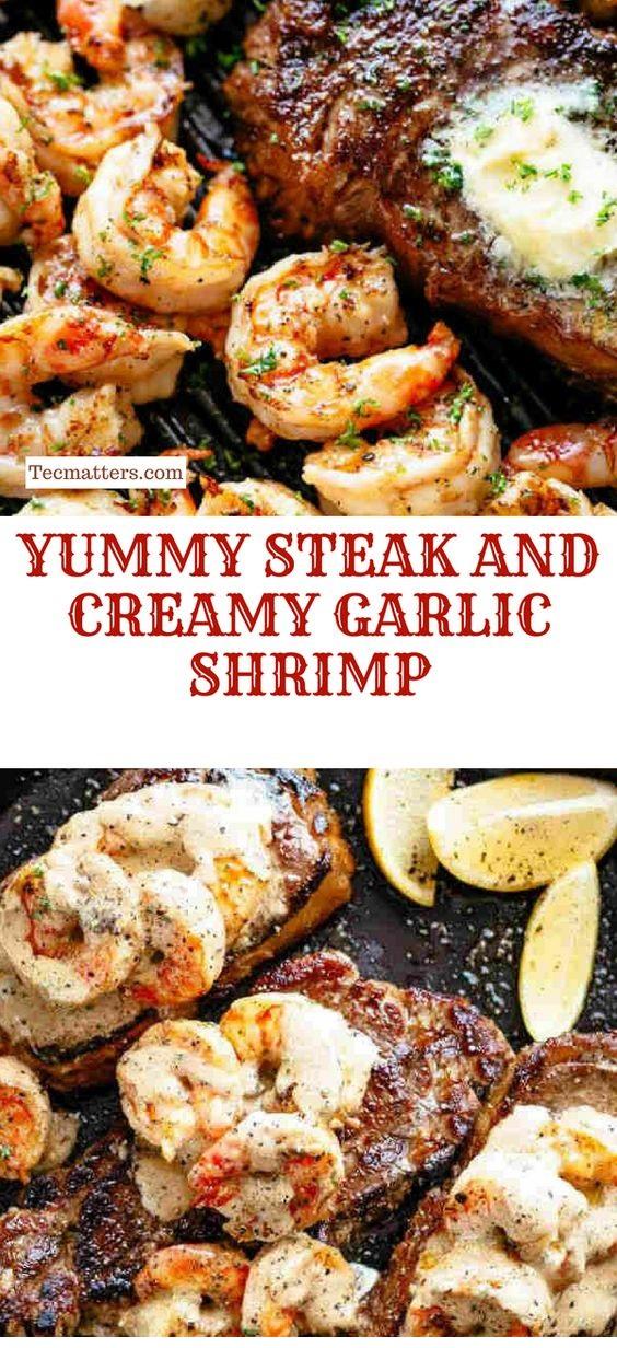 Yummy Steak And Creamy Garlic Shrimp