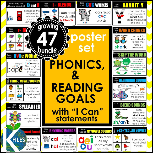 "Use these reading goal posters as a display in the classroom. Assign these ""I can"" statements as individual reading and phonics goals to hold students accountable for their reading achievement. They work!! Perfect for Reader's Workshop, Guided Reading, Daily 5, Read to Self, Spelling and growth mindset."