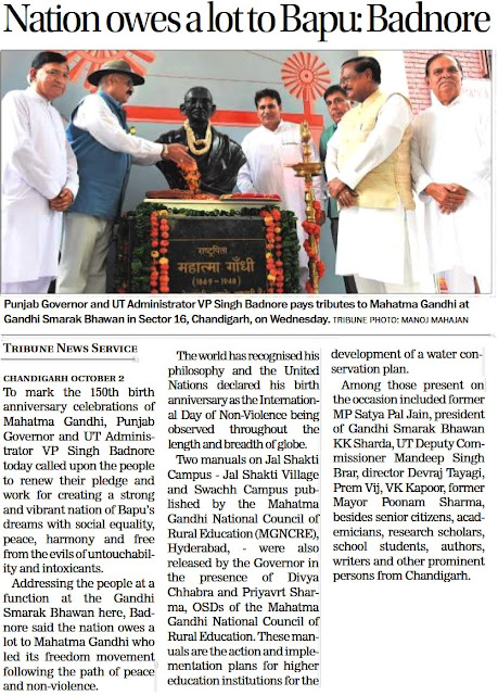Punjab Governor & UT Administrator V P Singh Badnore pays tributes to Mahatma Gandhi at Gandhi Samark Bhawan in Sector 16, Chandigarh on wednesday