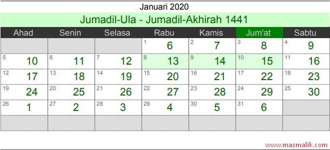 kalender Islam 2020, Januari