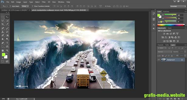 tampilan workspace adobe photoshop