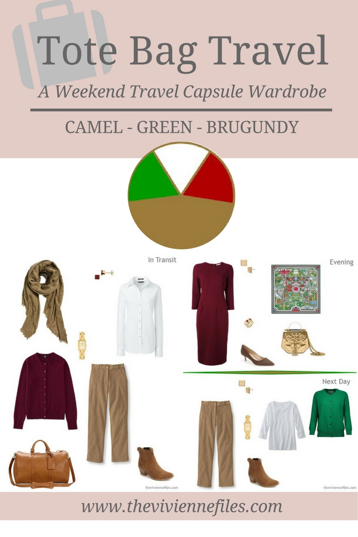 Tote Bag Travel Capsule Wardrobe In Camel, Green And