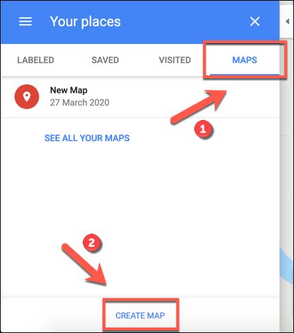 انقر فوق إنشاء خريطة لبدء إنشاء خريطة خرائط Google مخصصة