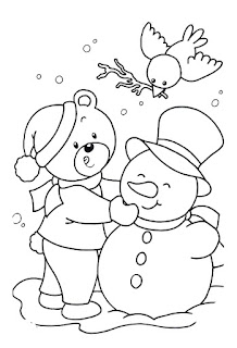 דובי בונה איש שלג לצביעה