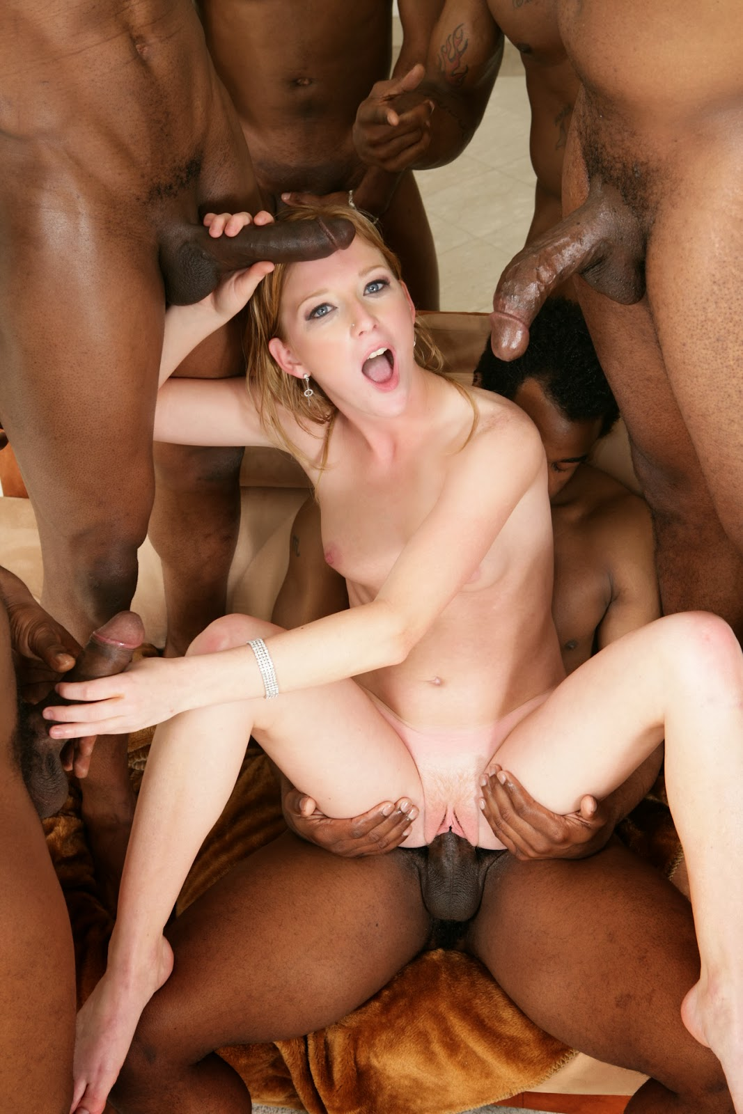 White Interracial Gangbang