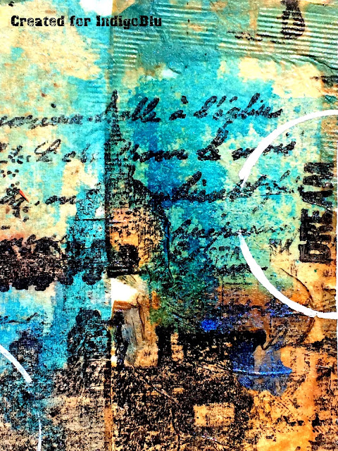 Art journal page by Solange Marques featuring IndigoBlu stamps.-07