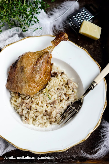 Risotto, kaczka, obiad, ryż, bernika, kulinarny pamietnik