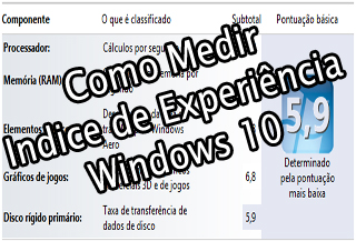 como medir o desempenho do windows 10 atraves do indice de experiencia