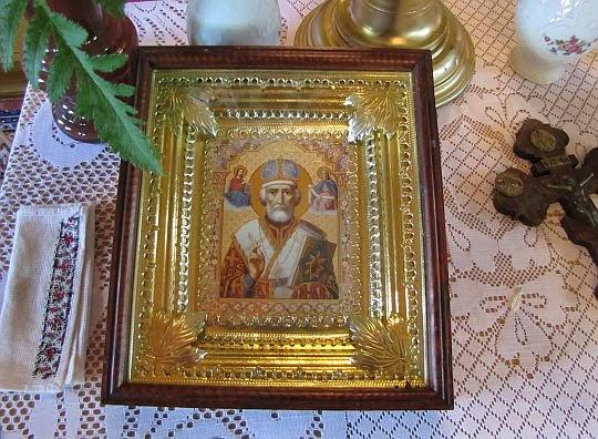 Ikona św. Mikołaja na anałoju.