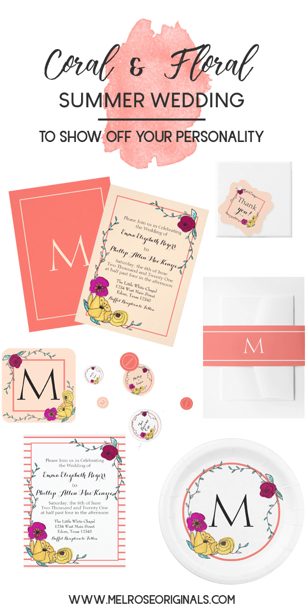 items from coral and floral whimsical summer wedding suite