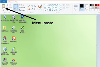 screenshot di laptop pc windows dengan paint