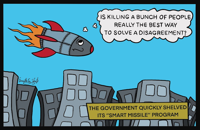 a comic with a smart missile wondering if killing people is the best way to settle an argument