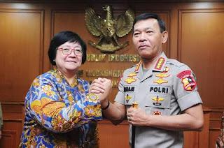 Menteri LHK Ibu Siti Nurbaya Bakar menerima Kunjungan Kapolri di KLHK