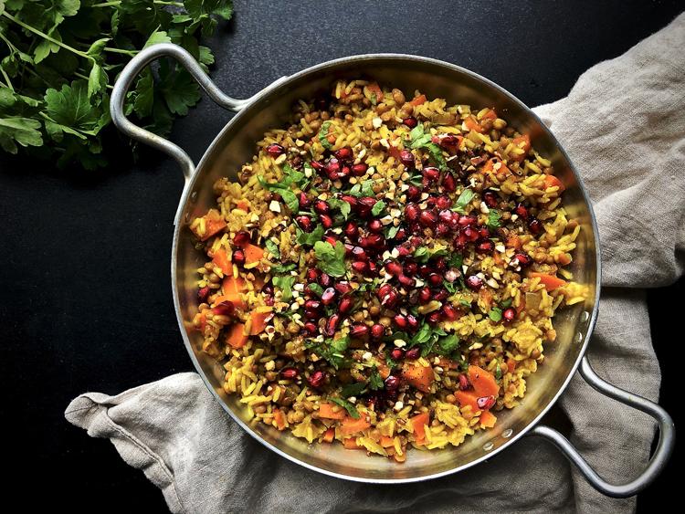 intialainen linssi-riisipata