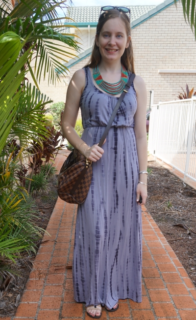 tie dye maxi dress Jeanswest summer studded sandals outfit statement necklace LV speedy bag | away from blue