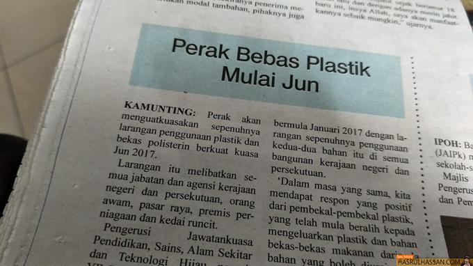 Perak Laksana Bebas Plastik Mulai Jun 2017 - Suara Perak
