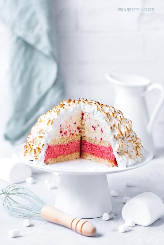 Baked Alaska Eisbombe Rezept Marshmallow Rhabarber